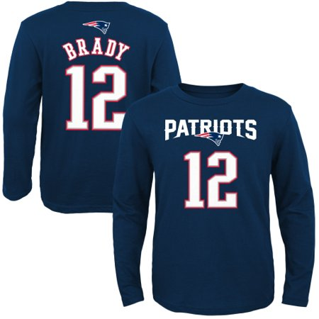 Tom Brady New England Patriots Youth Primary Gear Name & Number Long Sleeve T-Shirt - Navy Blue New England Patriots Number