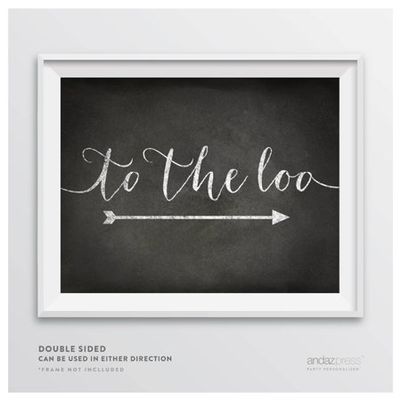 To The Loo Vintage Chalkboard Wedding Party Directional Signs, Double-Sided (Wedding Directional Signs)
