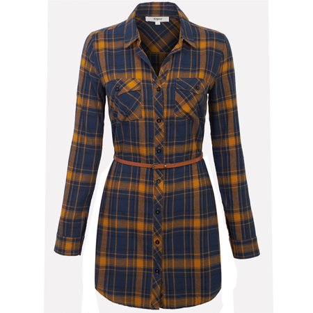 - KOGMO Womens Long Sleeve Button Front Belted Plaid Checker Shirt Dress