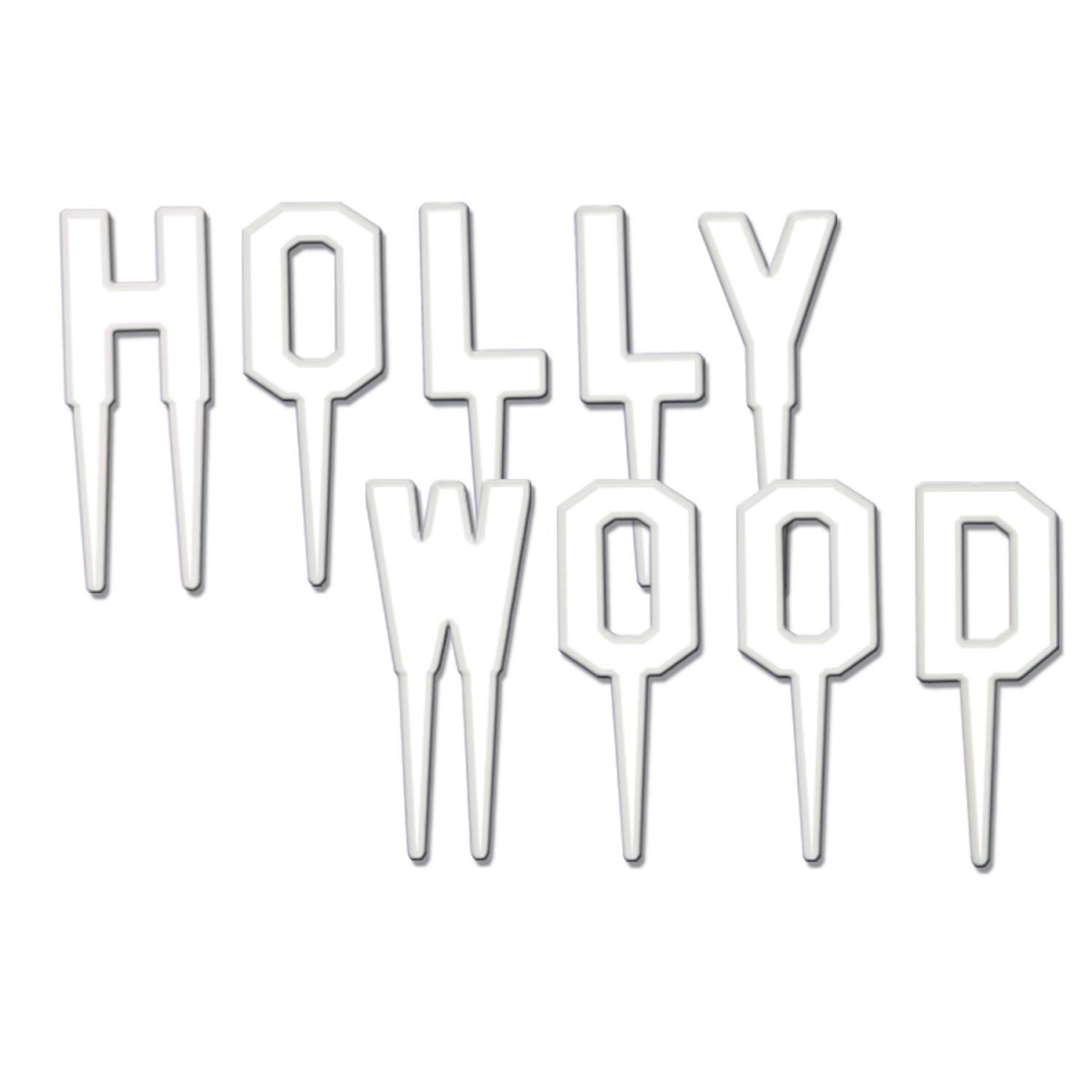 """Club Pack of 108 White """"HOLLYWOOD"""" Food, Drink or Decoration Party Picks 2"""""""