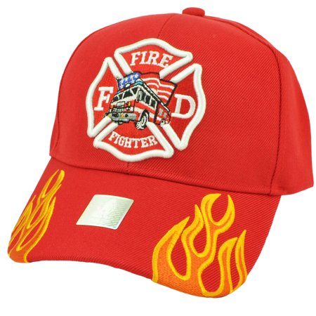 Fire Fighter Department Flames Rescue Dept Adjustable Red Hat Cap Fireman ()
