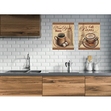 Gango Home Decor NY Bistro and Cafe Paris Coffee Kitchen Wall Art; Two Beige 11x14in Unframed Paper Prints Cafe Bistro Decor