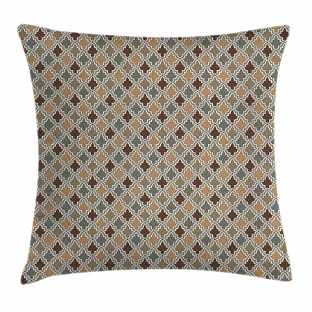 Antique Sage Finish - Geometric Throw Pillow Cushion Cover, Antique Eastern Pattern Arabesque Oriental Style Moroccan Influences, Decorative Square Accent Pillow Case, 16 X 16 Inches, Tan Brown Sage Green, by Ambesonne