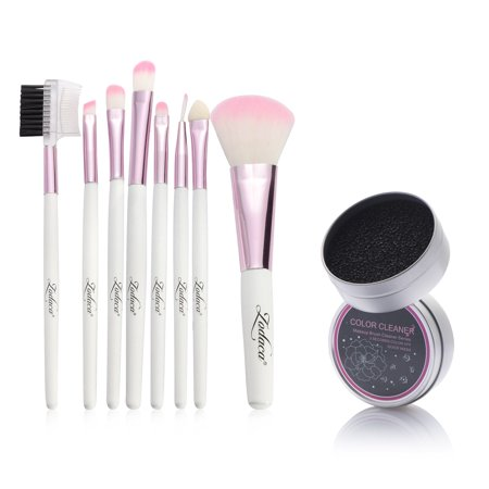 Zodaca Pink 8 Pcs Makeup Brush Set Powder Eyeshadow Blush Foundation Blending Highlighter Eyeliner Lip Cosmetic Comprehensive Tools With Pouch Bag Kit  8 Count    Color Remover Switch Clean Sponge