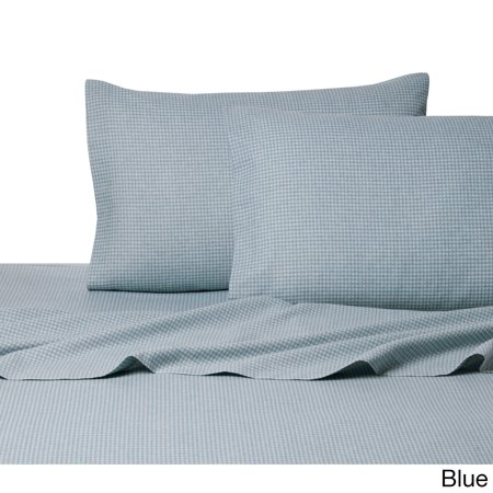 Belle Epoque La Rochelle Collection Gingham Heathered Flannel Queen Sheet Set in Blue
