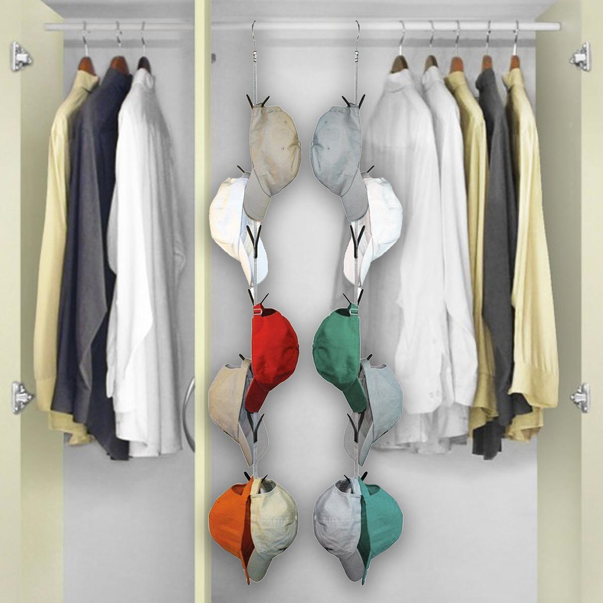 2 Hanging Cap Keeper Racks Hats Ties Belts Holders Closet Hook Storage Organizer
