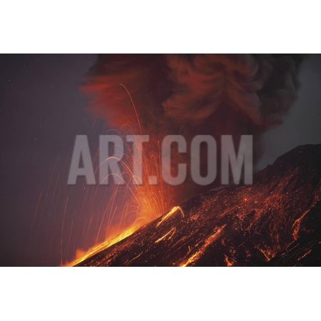 Molten Lava Erupting from Sakurajima Kagoshima Japan Print Wall Art By