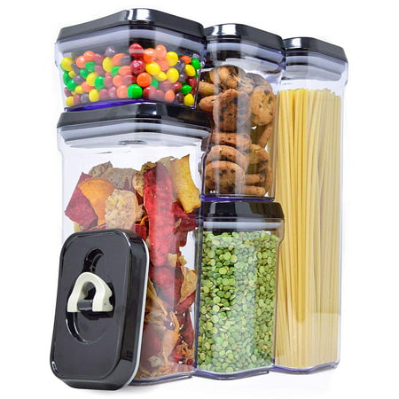 Royal Air-Tight Food Storage Container Set - 5-Piece Set - Durable Plastic - BPA Free - Clear Plastic with Black Lids Black Flip Top Lids