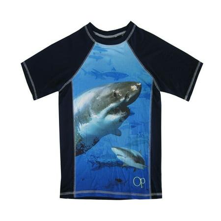OP Little Boys Royal Blue Shark Image Print Short Sleeve Rashguard 4/5