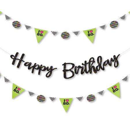 80's Retro - Totally 1980s Birthday Party Letter Banner Decoration - 36 Banner Cutouts and Happy Birthday Banner (80's Decorations)
