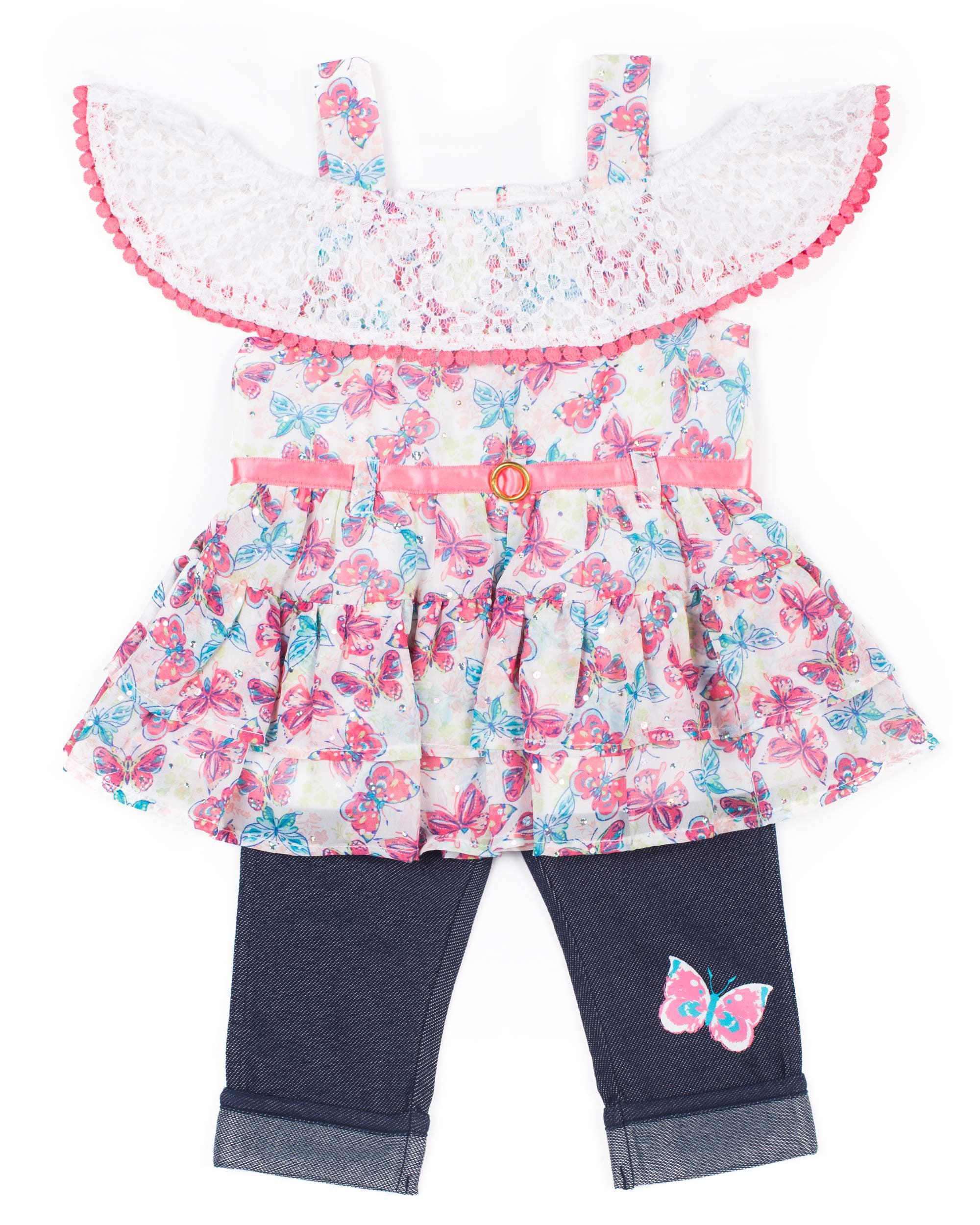 Short Sleeve Ruffled Chiffon Top & Capri, 2pc Outfit Set (Baby Girls & Toddler Girls)