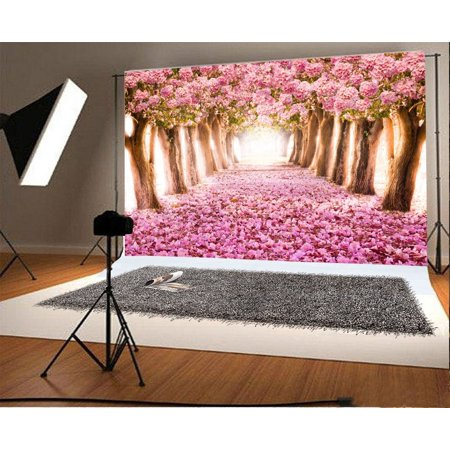 HelloDecor Polyster 7x5ft Photography Background Road Between Two Rows of Trees Pink Flowers Sea Romantic Sweet Pink Blossoming Floral Tree Petals Field Backdrops Portraits Shooting Video Studio Props