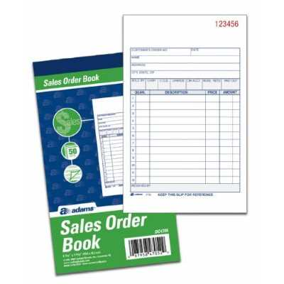 "Sales Order Book, 2-Part, Carbonless, 4-3/16"" x 7-3/16"", 50 Sets Per Book, 3 Pack"