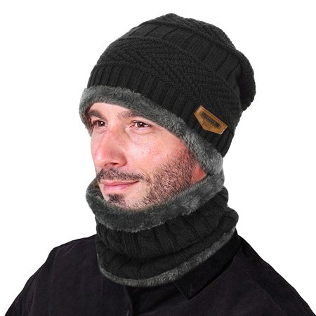 VBIGER Winter Beanie Hat Scarf Set Warm Knit Hat Thick Knit Skull Cap For Men Women ()