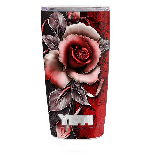 Skin Decal For Yeti 20 Oz Rambler Tumbler Cup / Beautful Rose Design