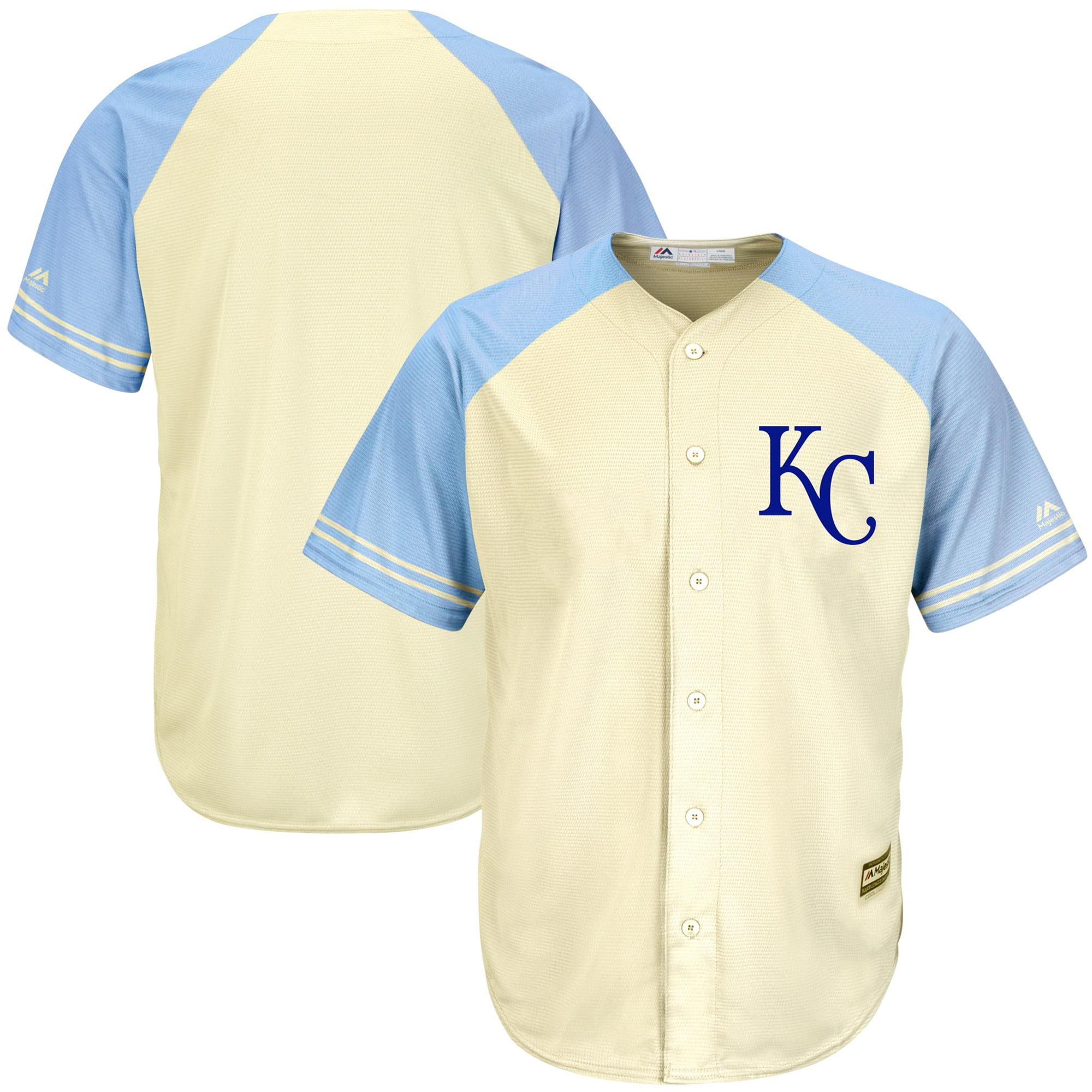 Men's Majestic Cream/Light Blue Kansas City Royals Cool Base Ivory Fashion Team Jersey