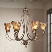 "Franklin Iron Works Golden Bronze Silver Large Chandelier 31 1/2"" Wide Scroll Amber Art Glass 6-Light Fixture for Dining Room"