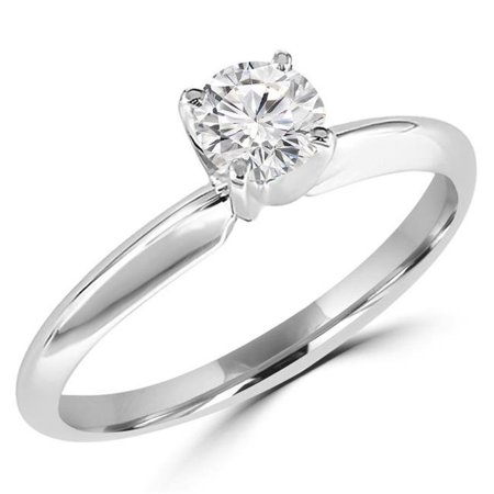 Majesty Diamonds MD170200-7.5 0.4 CT Round Diamond Solitaire Engagement Ring in 10K White Gold - Size 7.5 - image 1 de 1