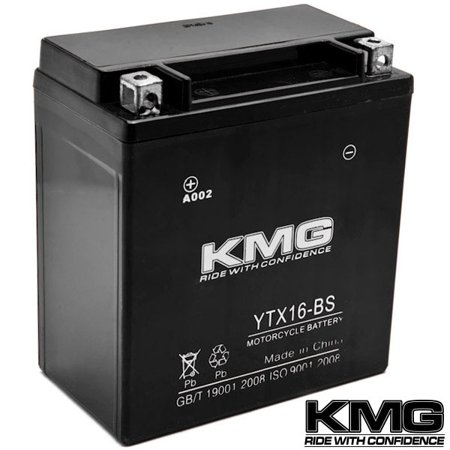KMG YTX16-BS Battery For Kawasaki VN1600 Vulcan Classic, Nomad 2003-2009 Sealed Maintenace Free 12V Battery High Performance SMF OEM Replacement Powersport Motorcycle ATV Snowmobile Watercraft