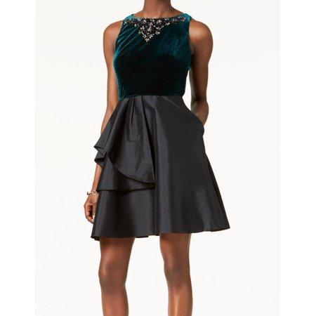 Womens Beaded Velvet Taffeta A-Line Dress 8