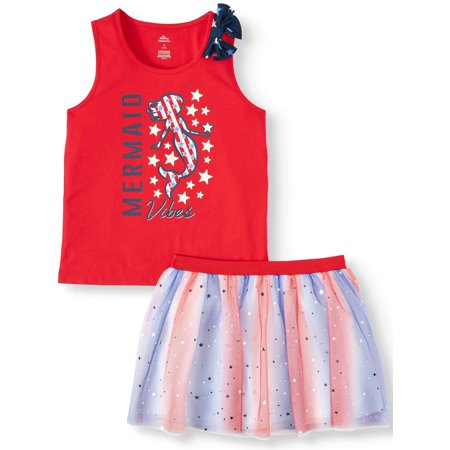 Americana Graphic Bow Tank and Printed Skirt, 2-Piece Outfit Set (Little Girls, Big Girls & Big Girls Plus)