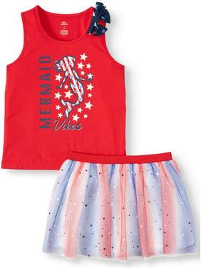 c6d7da78e05a4 Product Image Girls' Americana Graphic Bow Tank & Foil Tutu Skirt, 2pc  Outfit Set (Little