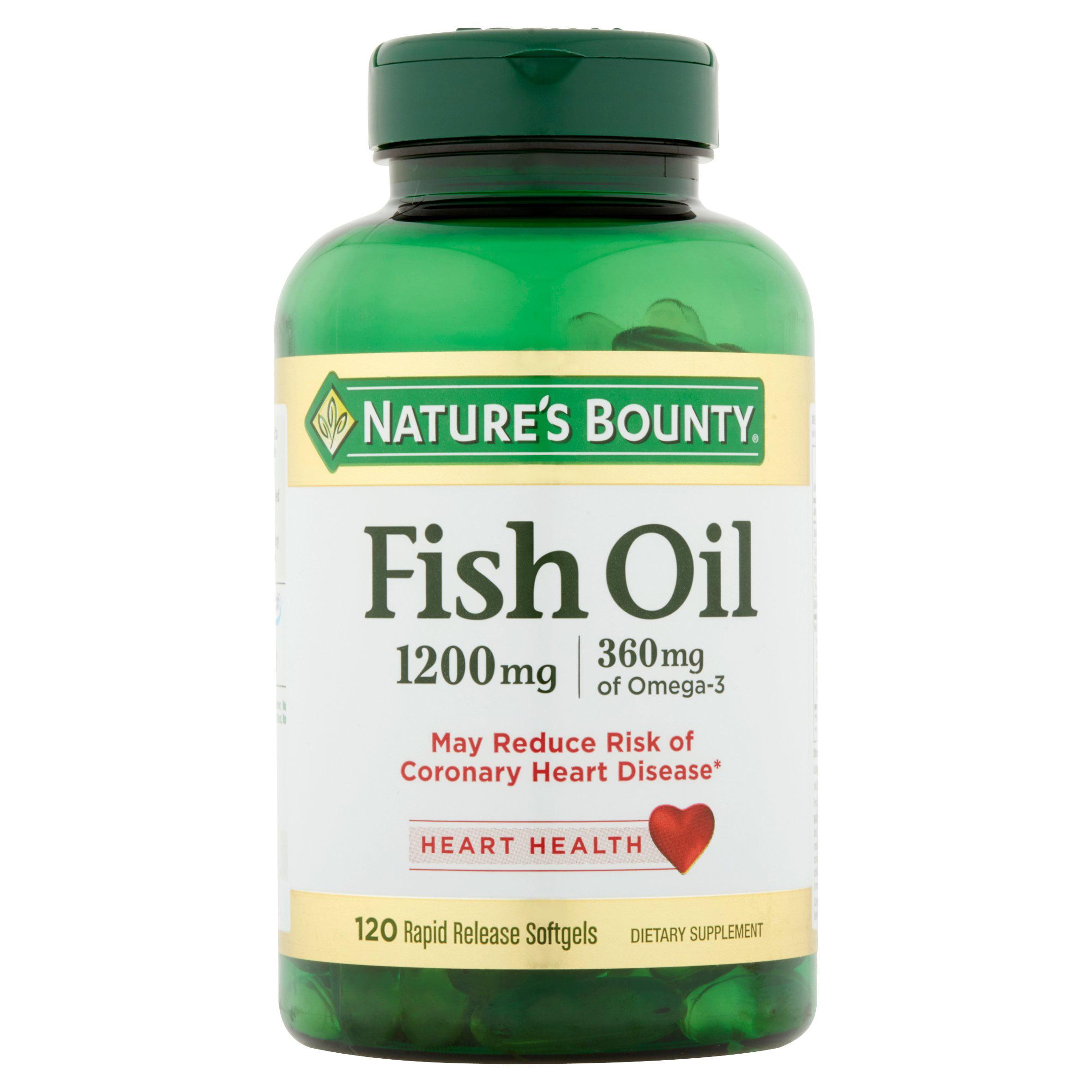 Nature's Bounty Fish Oil Softgels, 1200 mg + 360 mg Omega-3, 120 Ct