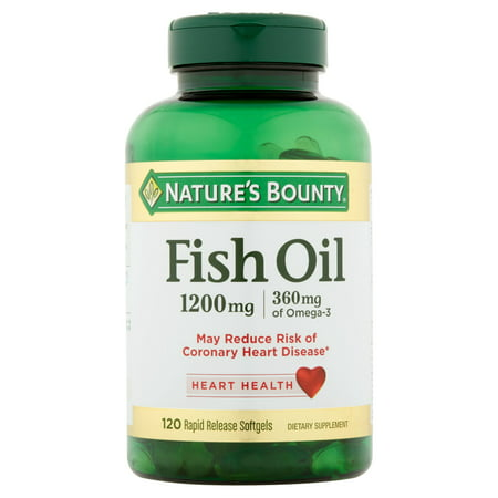 Nature's Bounty Fish Oil Omega-3 Softgels, 1200 mg + 360 mg Omega-3, 120