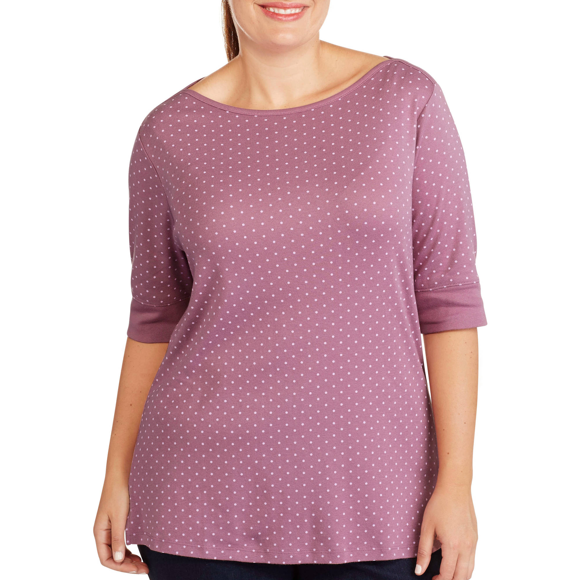 White Stag Women's Plus-Size Printed Boat neck Tee