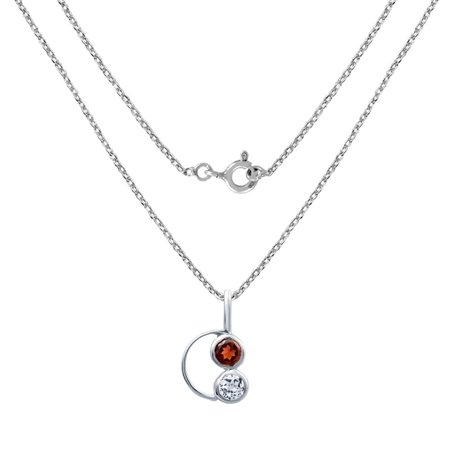 - Sterling Silver 4.00 mm Red Garnet & White Topaz Pendant Necklace For Women by Orchid Jewelry
