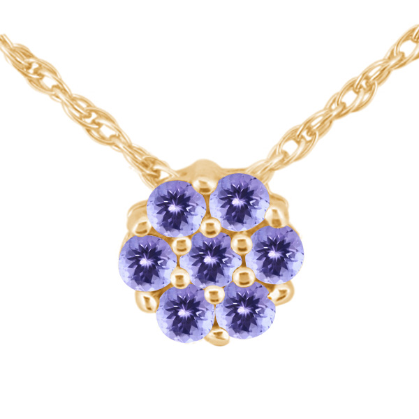 1.26 Ct Round Blue AAA Tanzanite 925 Yellow Gold Plated Silver Pendant