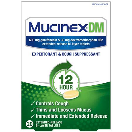 Mucinex DM 12-Hour Expectorant and Cough Suppressant Tablets, 20 Count Mucinex Dm Expectorant