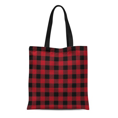 ASHLEIGH Canvas Tote Bag Red Basket Buffalo Plaid Lumberjack Pattern Picnic Abstract Black Durable Reusable Shopping Shoulder Grocery Bag
