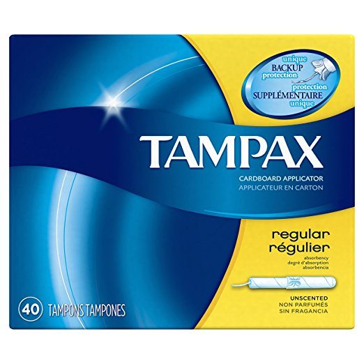 Tampax Cardboard Regular Tampons, Unscented, 40 count