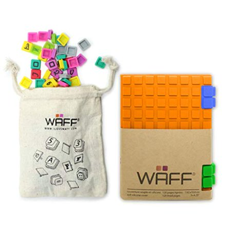 "WAFF, Soft Silicone Cube Tiles And Notebook / Journal Combo, Mini 4.25""H x 3""W - Orange - image 1 of 1"