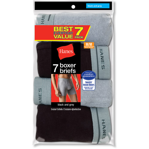 Hanes Big Men's Value 7 Pack Black Gray Boxer Brief, Size 2XL