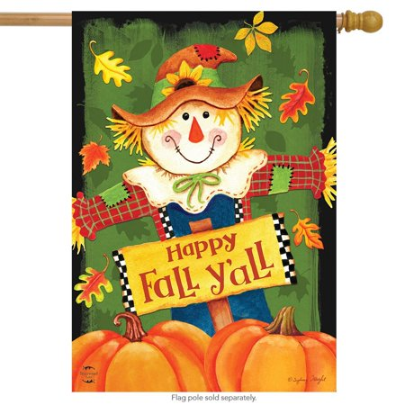 Fall Y'all Scarecrow Primitive House Flag Autumn Leaves 28