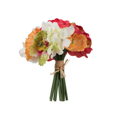 Vickerman 8.5H in. Silk Gerbera Daisy Bouquet with Hydrangea and Poppies