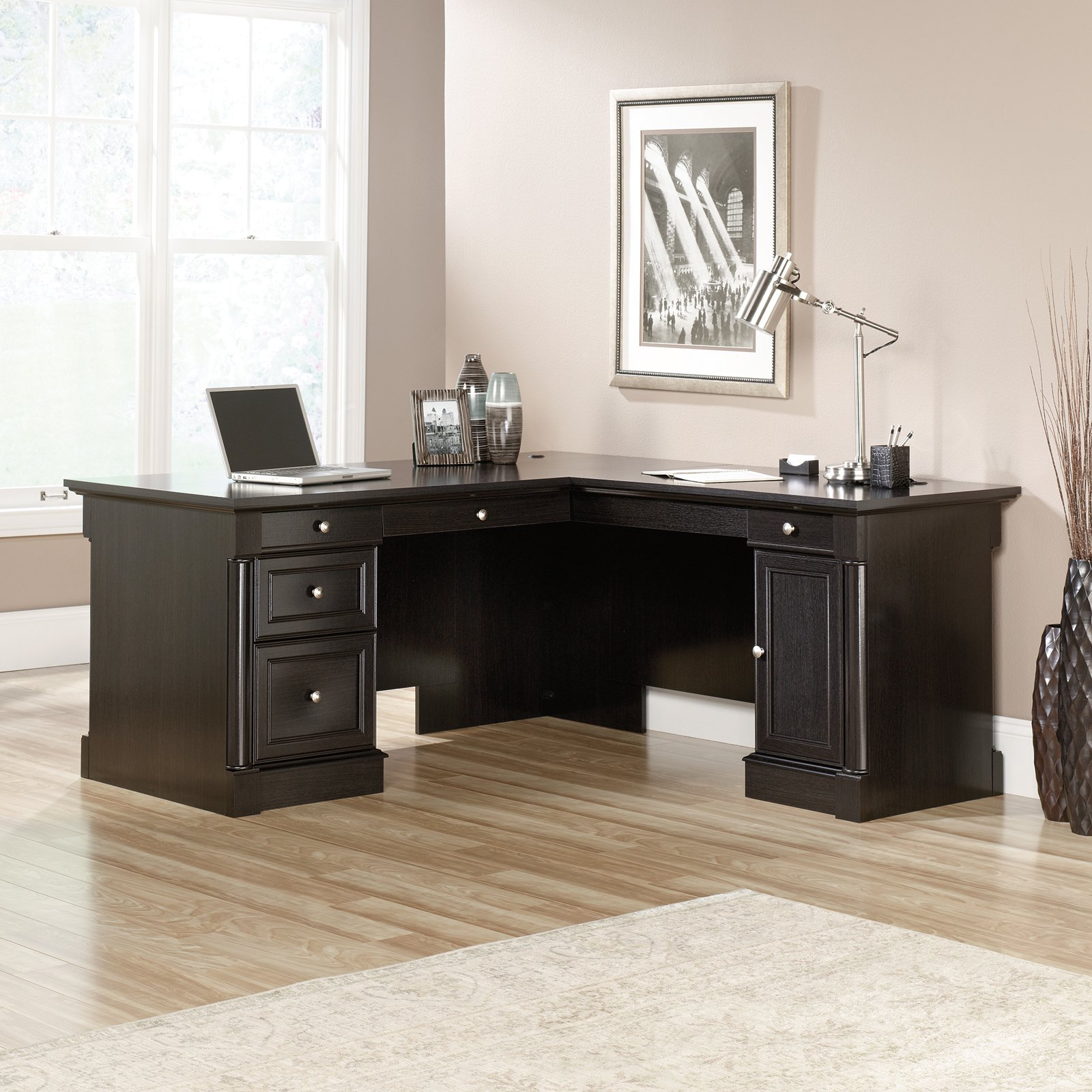 Sauder Palladia L-Shaped Desk - Wind Oak