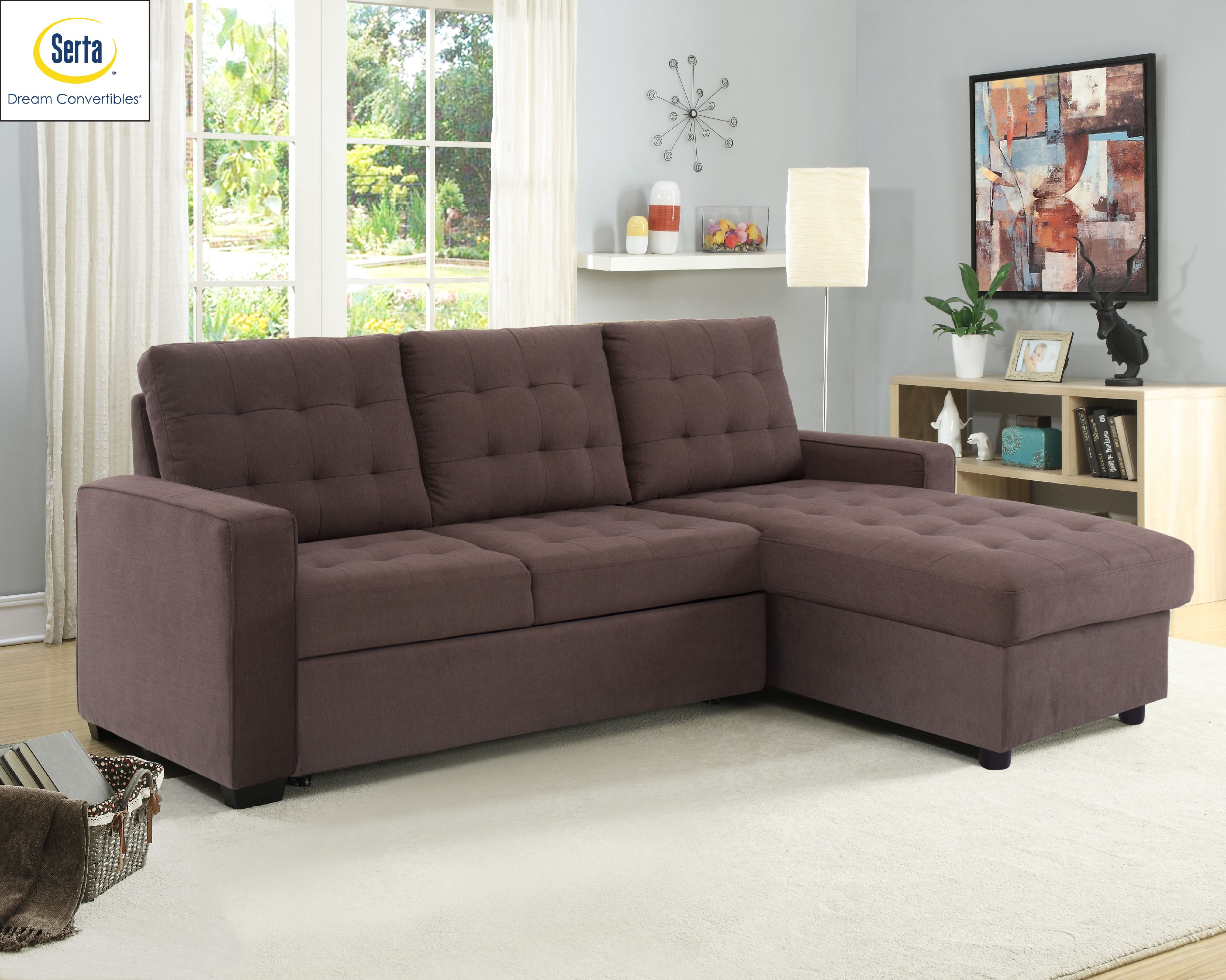 Lifestyle Solutions Serta Bostal Sectional Sofa Convertible: Converts into  a Sofa, Bed, and Chaise with Storage, Espresso - Walmart.com