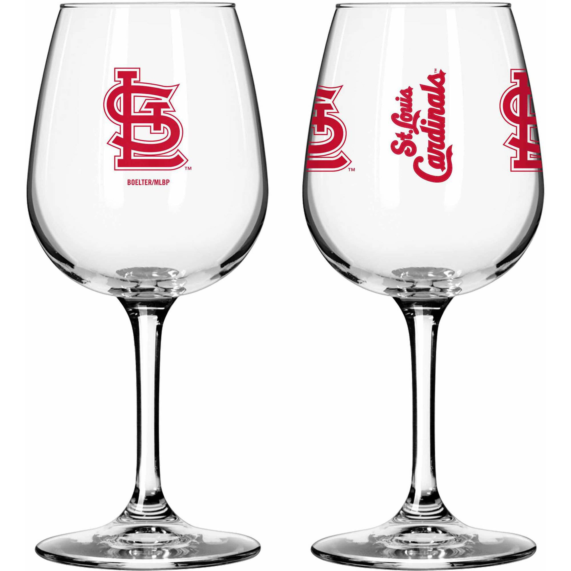 Boelter Brands MLB Set of Two 12 Ounce Wine Glass Set, St. Louis Cardinals