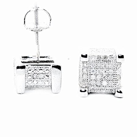 Cube Shaped Diamond Mens Stud Earrings Sterling Silver 8mm Wide Screw Back 1/4cttw(i2/i3, I/j)