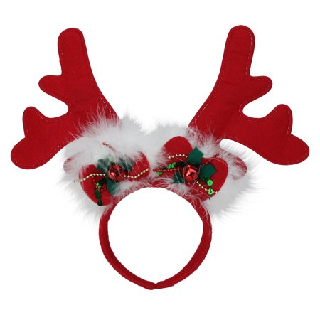Red Reindeer Antlers Christmas Party Headband with Jingle Bells