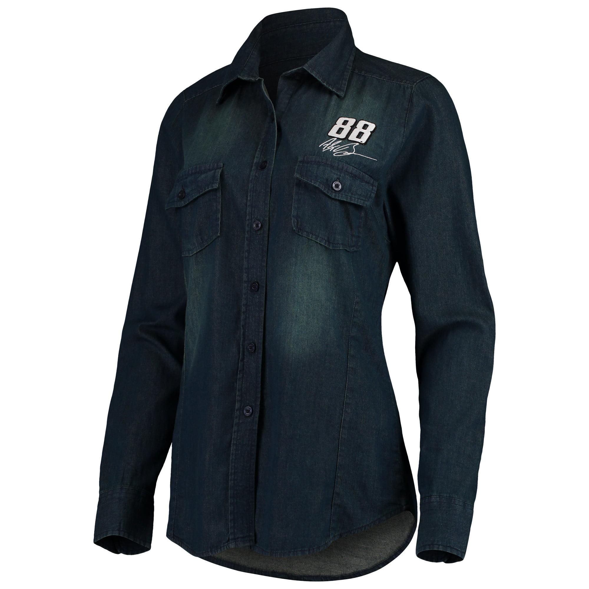 Alex Bowman Antigua Women's Outlook Long Sleeve Button-Up Chambray Shirt - Navy