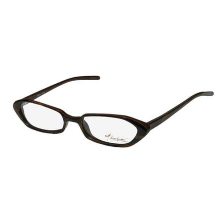 New Thalia Dahila Womens/Ladies Designer Full-Rim Chocolate Plastic Temples Stunning Frame Demo Lenses 49-16-135 Spring Hinges Eyeglasses/Spectacles