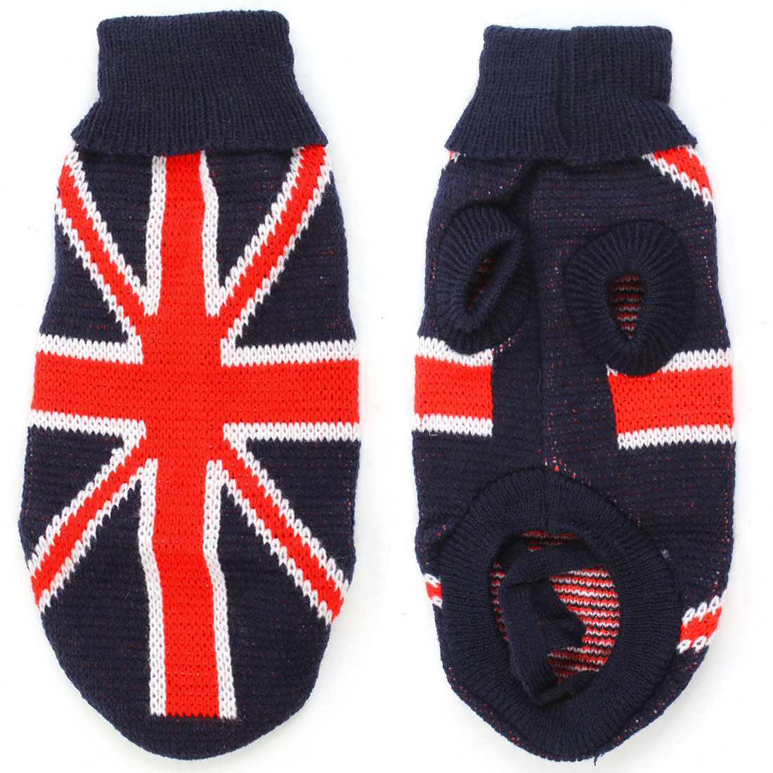 Unique Bargains Winter Turtleneck Red UK Flag Printed Navy Blue Pet Dog Clothes Sweater XXS