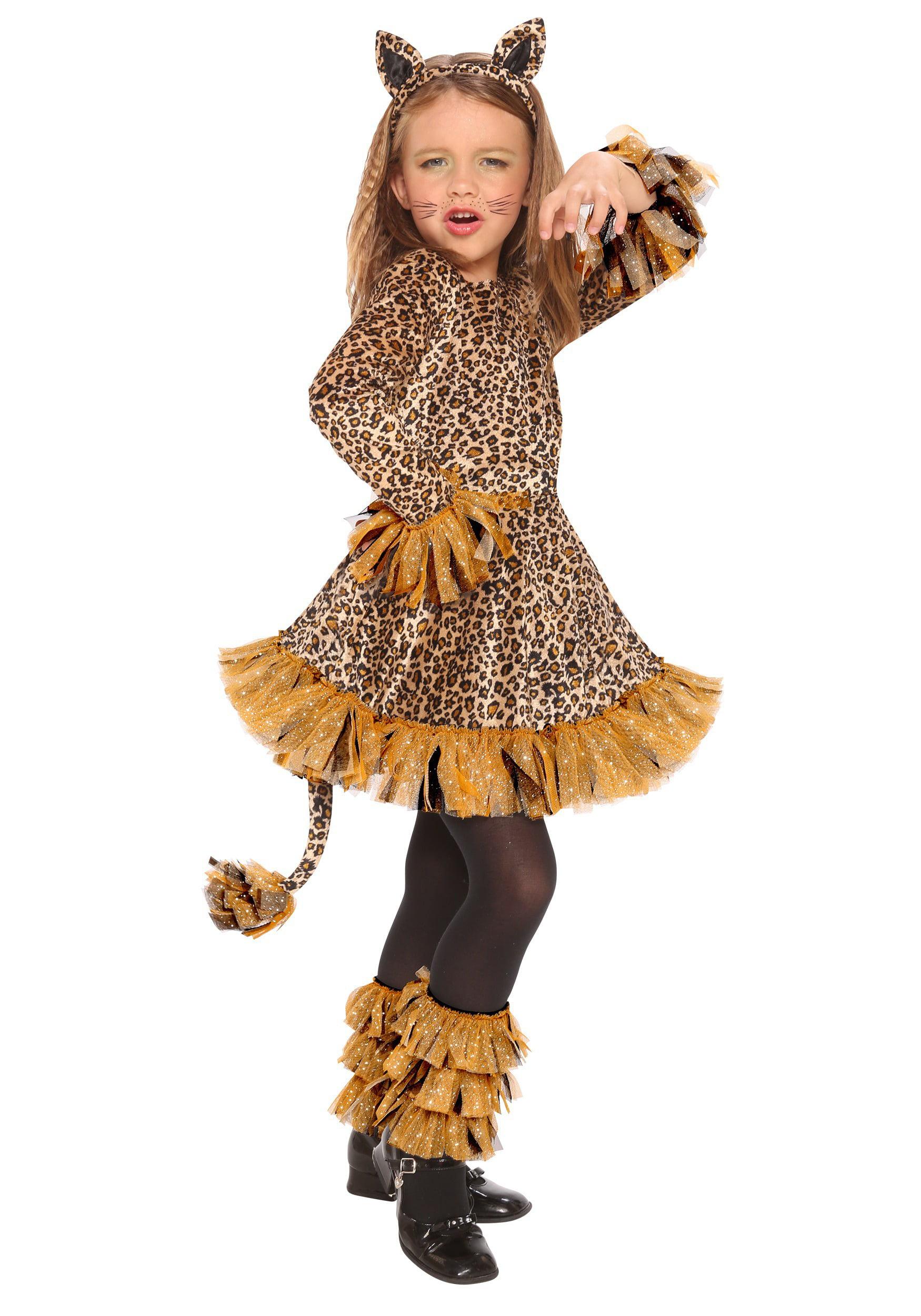 34f6b183024f Adorable Girls Leopard Print Velvety Costume Dress Glitter Wild Child Small  4-6 - image zoomed image