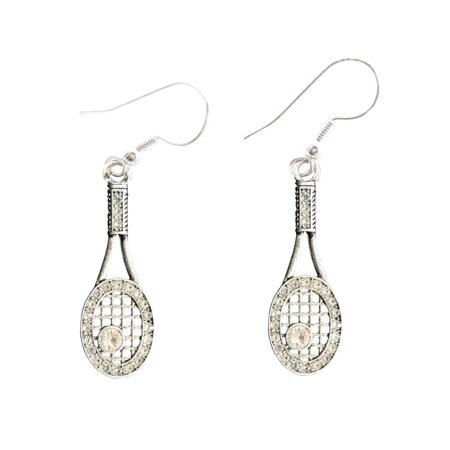 Tennis Racket Crystal Charm On Silver Plated French Hook Earrings Sports Tennis Earrings