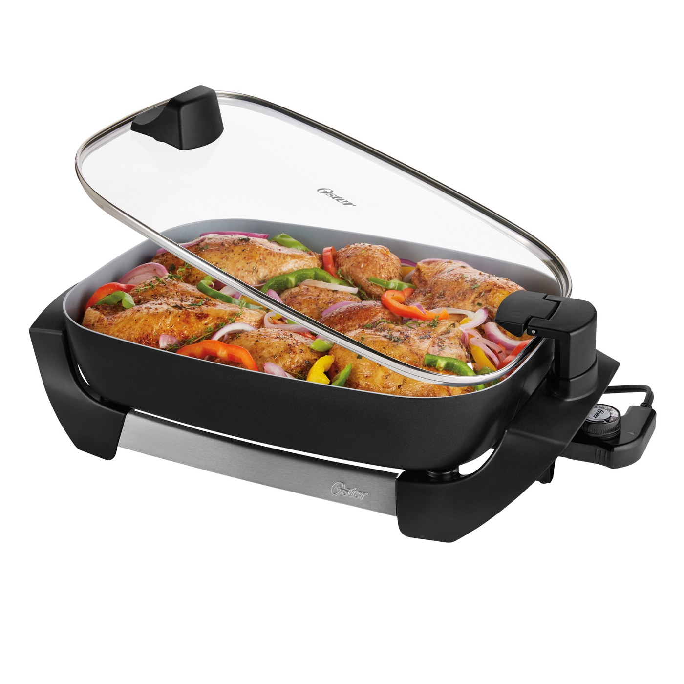 """Oster DuraCeramic 16"""" Electric Skillet With Lift & Serve Hinged Lid - Black"""