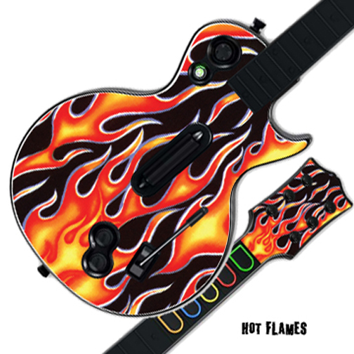 Mightyskins Protective Skin Decal Cover Sticker for GUITAR HERO 3 III PS3 Xbox 360 Les Paul - Hot Flames
